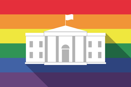 sexual orientation: Illustration of a long shadow gay pride flag with  the White House building