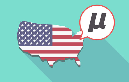 Long shadow map of United States of America and its flag with  a micro sign, mu greek letter Illustration