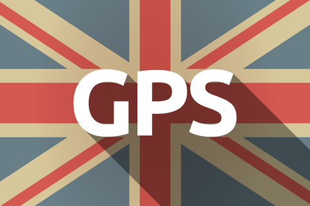 Illustration of a long shadow United Kingdom flag with  the Global Positioning System acronym GPS