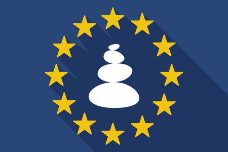 Illustration of a long shadow European Union flag with  a stacked zen stones Illustration