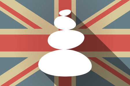 Illustration of a long shadow United Kingdom flag with  a stacked zen stones