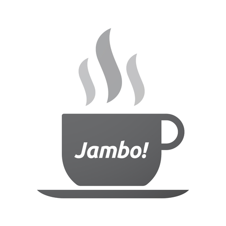 swahili: Illustration of an isolated coffee mug with  the text Hello! in the swahili language