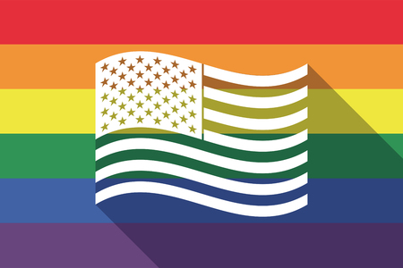 sexual orientation: Illustration of a long shadow gay pride flag with  the Unites States of America waving flag