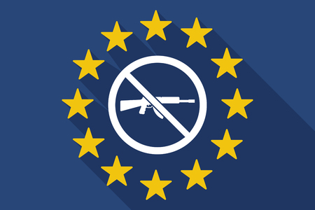 Illustration of a long shadow European Union flag with  a rifle  in a not allowed signal