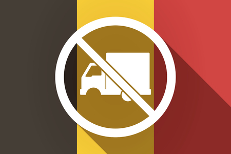 Illustration of a long shadow Germany flag with  a delivery truck  in a not allowed signal