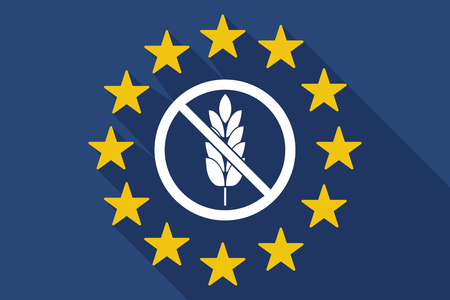 Illustration of a long shadow European Union flag with  a gluten free sign