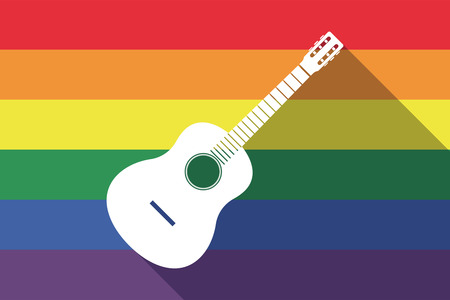 Illustration of a long shadow gay pride flag with  a six string acoustic guitar