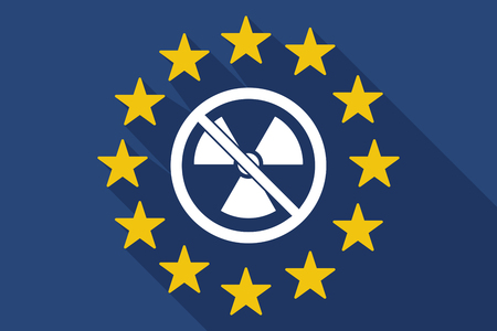 Illustration of a long shadow European Union flag with  a radioactivity sign  in a not allowed signal