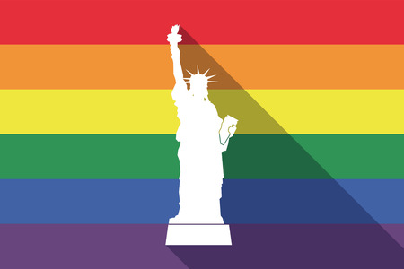 Illustration of a long shadow gay pride flag with  the Statue of Liberty