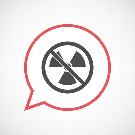 Illustration d'un ballon de bande dessinée isolé avec un signe de radioactivité dans un signal non autorisé Vecteurs