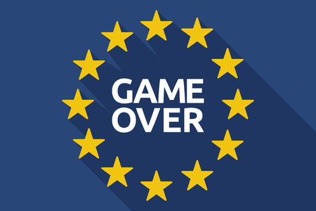 failed politics: Illustration of a long shadow European Union flag with  the text Game Over
