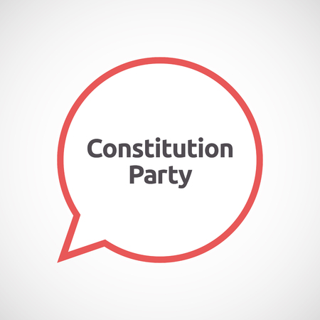 presidential: Illustration of an isolated line art comic balloon with  the text Constitution Party