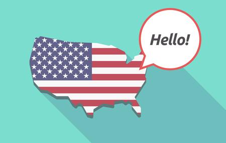Carte longue ombre des États-Unis d'Amérique et son drapeau avec le texte Bonjour! Vecteurs