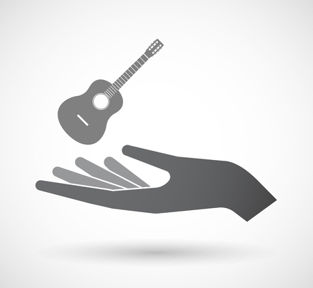 Illustration of an isolated hand giving  a six string acoustic guitar