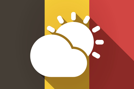 Illustration of a long shadow Germany flag with  the Sun shining behind a cloud
