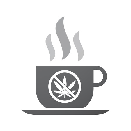 weeds: Illustration of an isolated coffee mug with  a marijuana leaf  in a not allowed signal Illustration