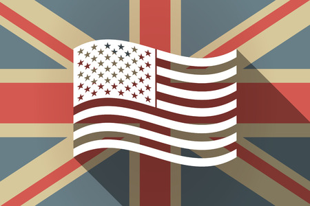 Illustration of a long shadow United Kingdom flag with  the Unites States of America waving flag