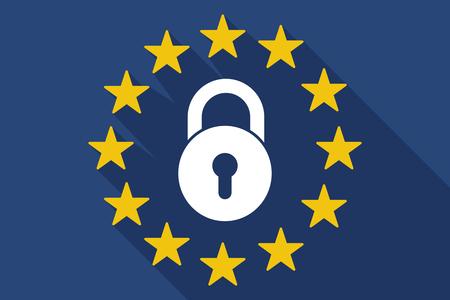 닫힌 된 잠금 패드와 긴 그림자 유럽 연합 국기의 그림