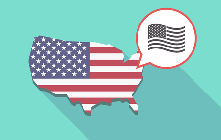 its: Long shadow map of United States of America and its flag with  the Unites States of America waving flag Illustration