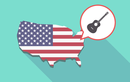 Long shadow map of United States of America and its flag with  a six string acoustic guitar Illustration