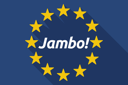 swahili: Illustration of a long shadow European Union flag with  the text Hello! in the swahili language