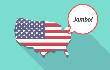 swahili: Long shadow map of United States of America and its flag with  the text Hello! in the swahili language Illustration