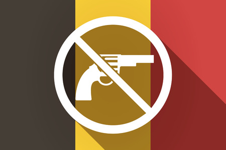german handgun: Illustration of a long shadow Germany flag with  a gun  in a not allowed signal Illustration