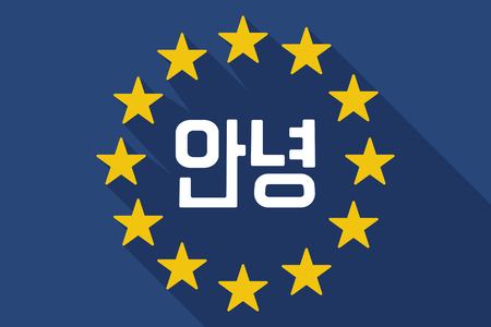 Illustration of a long shadow European Union flag with  the text Hello in the Korean  language Illustration