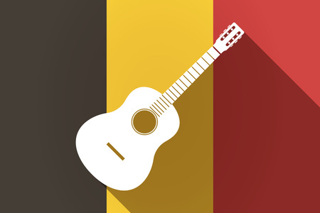 Illustration of a long shadow Germany flag with  a six string acoustic guitar Illustration