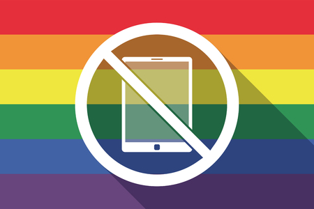 Illustration of a long shadow gay pride flag with  a tablet pc  in a not allowed signal Illustration