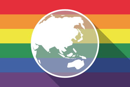 sexual orientation: Illustration of a long shadow gay pride flag with  an Asia Pacific world globe map