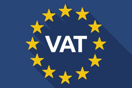 Illustratie van een lange schaduw vlag van de Europese Unie met de toegevoegde waarde belasting acroniem BTW