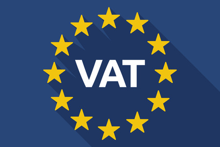 Illustration of a long shadow European Union flag with  the value added tax acronym VAT