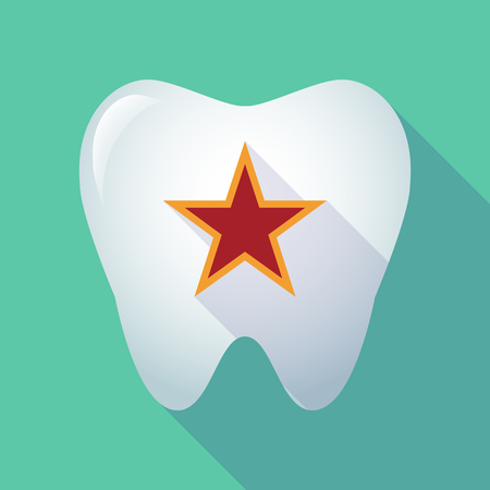 Illustration of a long shadow  tooth with  the red star of communism icon