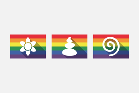 website buttons: Group of gay pride flags with  Zen and relaxation related icons Illustration