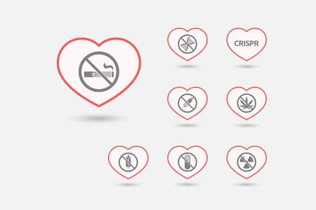 Group of line art hearts with  health and wellness related icons
