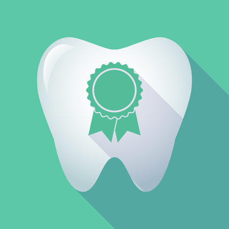 Illustration of a long shadow  tooth with  a ribbon award