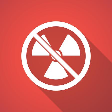 interdiction: Illustration d'une longue ombre d'un signe de radioactivité dans un signal non autorisé