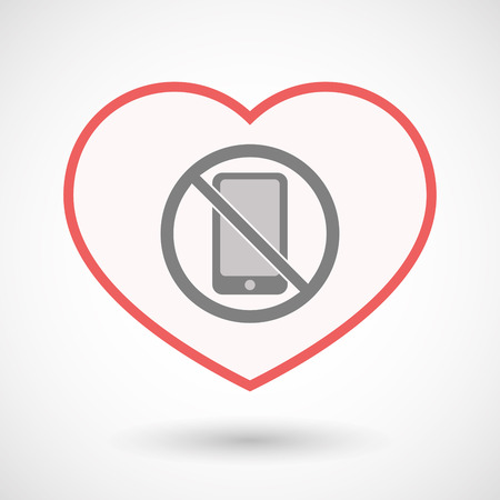 Illustration of an isolated line art heart with  a phone  in a not allowed signal Çizim