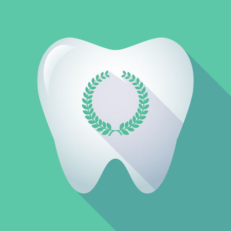 Illustration of a long shadow tooth with a laurel crown sign