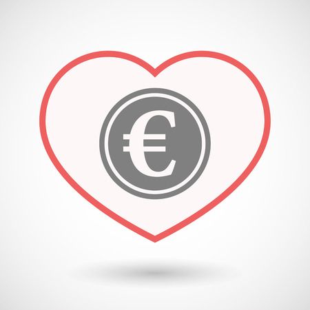 Illustration of an isolated line art heart with  an euro coin