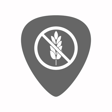 plectrum: Illustration of an isolated electric guitar plectrum with  a gluten free sign