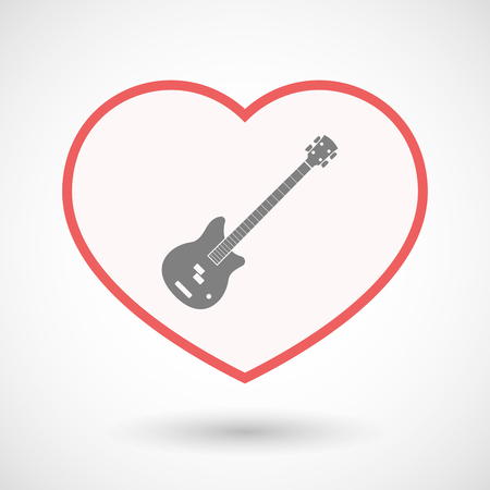 Illustration of an isolated line art heart with  a four string electric bass guitar