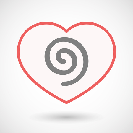Illustration of an isolated line art heart with  a spiral Ilustrace