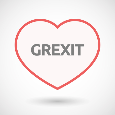 Illustration of an isolated line art heart with  the text GREXIT