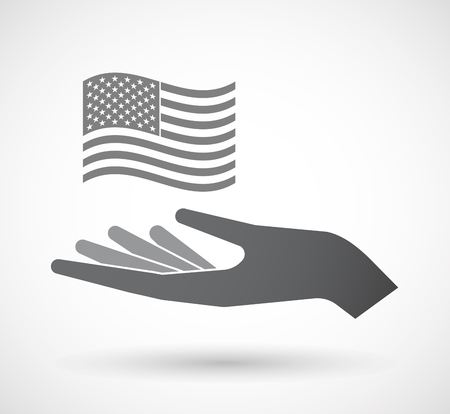 Illustration of an isolated hand giving  the Unites States of America waving flag Illustration