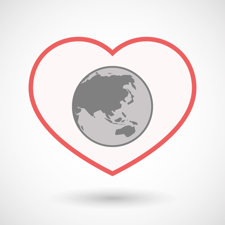 Illustration of an isolated line art heart with  an Asia Pacific world globe map