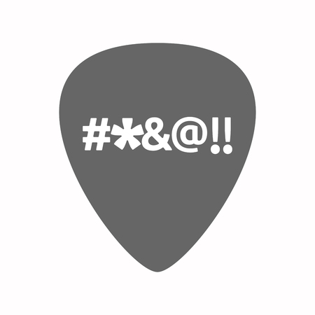 cursing: Illustration of an isolated electric guitar plectrum with  a cursing tex Illustration