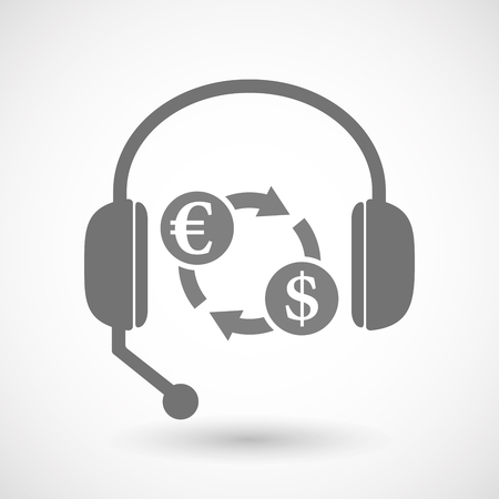 Illustration of an isolated hands free headphones with  an euro dollar exchange sign