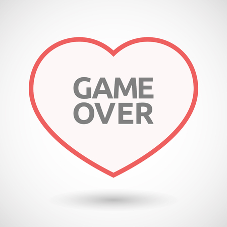 Illustration of an isolated line art heart with  the text Game Over